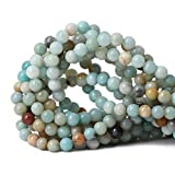 Qiwan 45PCS 8mm Amazonite Gemstone Loose Beads Natural Round stone Crystal Energy Stone Healing Power for Jewelry Making 1 Strand 15""