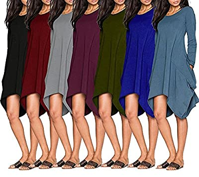 Wearlove Women Asymmetrical Loose Long Sleeve Pockets Tunic Shirt Dress