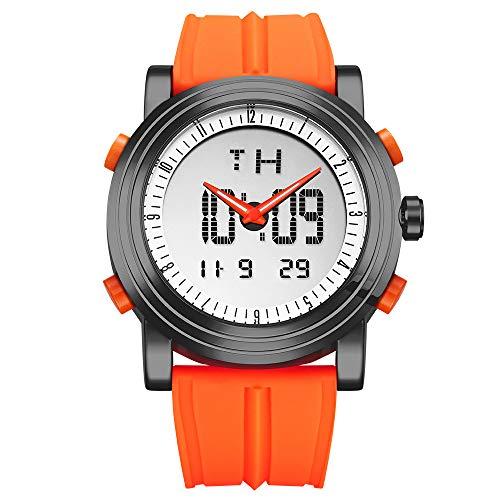 SINOBI Sport Military Man Watch Rubber Watchband Digital Quartz Luminous Dual Time Day Date Wristwatches