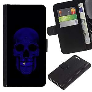 Cráneo Bling Purple Negro minimalista- la tarjeta de Crédito Slots PU Funda de cuero Monedero caso cubierta de piel Para Apple (5.5 inches!!!) iPhone 6+ Plus / 6S+ Plus