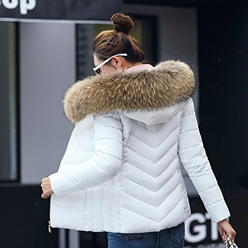 a XXL XL Capuche Slim 4XL Chaude Hiver 5XL 3XL Femme Wealsex Doudoune Grande Femme Taille Blanc Manteau Fourrure Court Blouson Veste Coton 5fWxTA