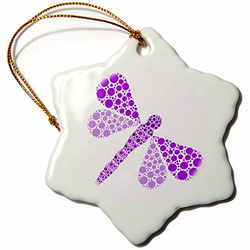 Pointillism Dragonfly Print - 3dRose Janna Salak Designs Prints and Patterns - Purple Pointillism Dragonfly - 3 inch Snowflake Porcelain Ornament (orn_25377_1)