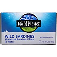 Wild Planet Skinless and Boneless Sardines in Water, 4.25 Ounce (Pack of 12)
