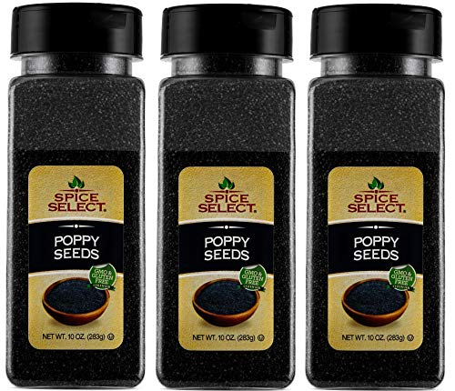 Spice Select Whole Poppy Seeds - 10 oz (Pack of 3 - Total of 1.87 LBS) (Best Lemon Poppy Seed Muffin Recipe Ever)