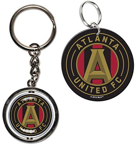 Bundle 2 Items: MLS Atlanta United FC 1 Metal Spinner Key Ring and 1 Premium Acrylic Key Ring