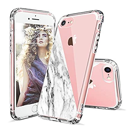 IPhone 8 Case 7 Clear MOSNOVO Half White Marble Design Printed