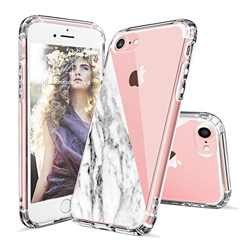 iPhone 8 Case, iPhone 7 Case Clear, MOSNOVO Half White Marble Clear Design Printed Transparent Hard Back Case with Soft TPU Bumper Protective Phone Case Cover for iPhone 7 (2016) - Half Marble