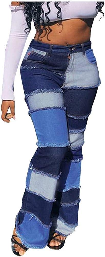 Amazon Com Mujeres Agujero Cintura Alta Campana Parte Inferior Jeans Leggings Parche Empalme Slim Bolsillo Primavera Moda Pantalones Pantalones Slim 26 Clothing