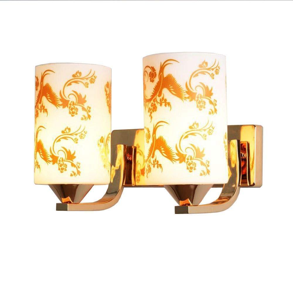 Zhang Yan ZYY Moderne Glas Schlafzimmer Wandleuchte Badezimmer Waschraum Spiegel Lichter Einfache Flur Balkon Wandleuchte (Gold-2 Kopf)