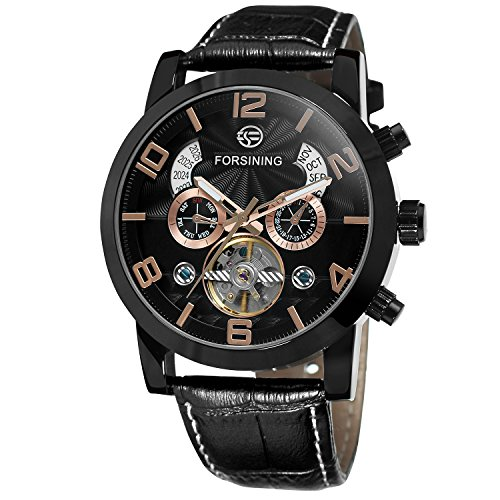 Forsining Men's Automatic Self-winding Day Calendar Leather Strap Brand Collection Wrist Watch FSG165M3B2
