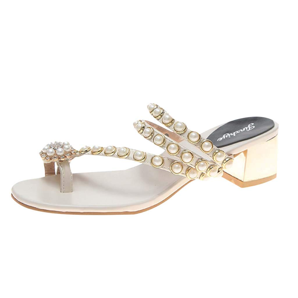 Fastbot Women's Summer Sandals Open Toe Casual Comfort Crystal Pearl Toe Thick-Heeled d Beach Slippers White