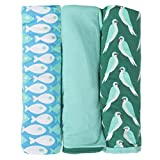 KicKee Pants Swaddling Blanket Gift Set With elephant Box, Parrot, Glass With shady Glade & Confetti Piranha