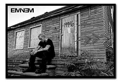 Eminem MMLP 2 Marshall Mathers Poster Magnetic Notice Board Black Framed - 96.5 x 66 cms (Approx 38 x 26 inches)