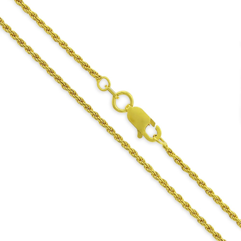 """16/"""" Solid 925 Twisted Chain Necklace 18K Yellow Gold Plated Sterling Silver Italian 1.5mm Rope Diamond-Cut Link 30/"""""""