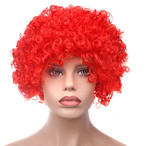 IETANG Afro Fluffy Wig Hair Curl Wigs Synthetic Fiber Hairpiece Party Hair Fan Costume Wig (Red)