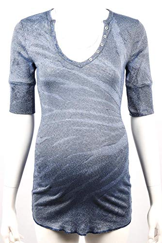 Michael Stars Maternity Elixir Blue OSFA Shine v-Neck Henley Shirt top