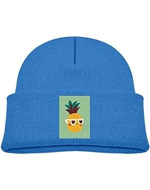 Kids Knitted Beanies Hat Cool Pineapple Wear Sunglass Winter Hat Knitted Skull Cap for Boys Girls Black