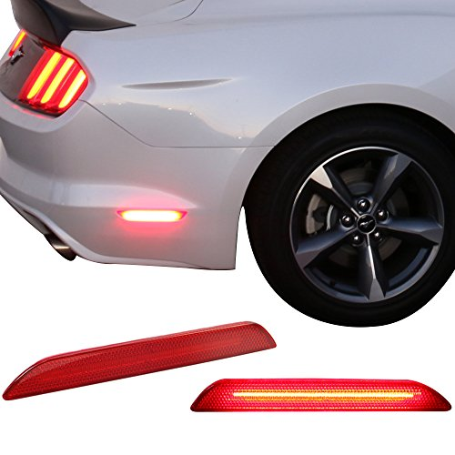 Lights Fits 2015-2017 Ford Mustang | Rear Red Side Marker LED Reflectors Pairs by IKON MOTORSPORTS | 2016