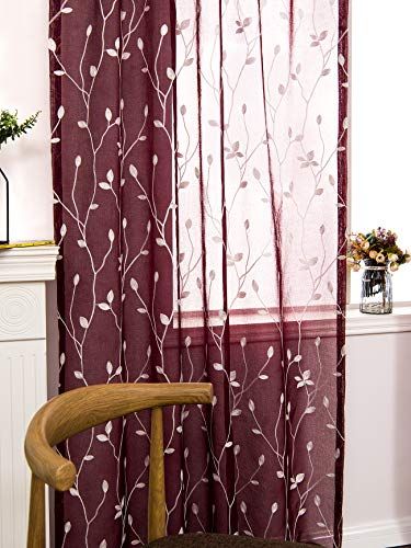 AmHoo Floral Leaf Embroidery Semi Sheer Curtain Rod Pocket Voile Sheer Curtains Set of 2 for Living Bedroom Window Treatment Burgundy Red, 53 x 95