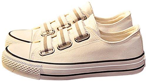 Chaussures En Toile Satuki Pour Femme, Pull Décontracté Mode Sneakers Mocassins Plats Blanc