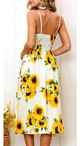 Floreale Midi Pulsante Pattern5 Primavera Tasche donne Coolred Flyaway Grandi Vestito Senza Singolo Maniche Di ncvRcXwqz6