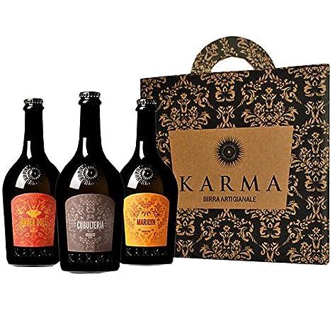 Cerveza Artesanal Karma Regalo Idea (tres botellas de 75 cl): Amazon.es: Alimentación y bebidas