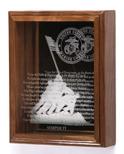 Marine-Corps-3-D-Mirror-Memorial-Case-8×10-USMC-EGA-Iwo-Jima-USMC-Hymn