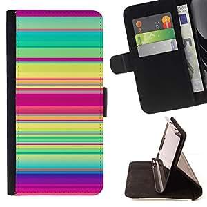 For HTC One Mini 2 M8 MINI Case , Patrón de rayas del trullo púrpura verde rosado Líneas- la tarjeta de Crédito Slots PU Funda de cuero Monedero caso cubierta de piel