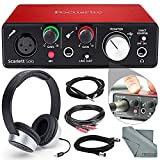Focusrite Scarlett Solo USB Audio Interface(2nd Generation) Deluxe Bundle W/ Headphones + Cables, and FiberTique Cleaning cloth