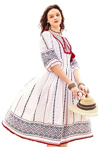 (Artka Women's Boho Jacquard Print Swing Dress White)
