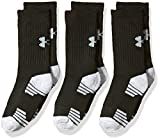 Under Armour Boys Heatgear Tech Crew Socks, Black, Youth Medium, 3- Pairs