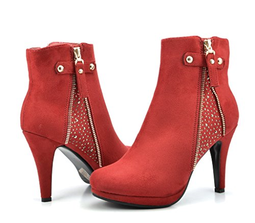 Dream Pair Womens Cecile Chic Detailed Rhinestone Stud Embellishment Platform High Heel Shoes Booties Red Size 9