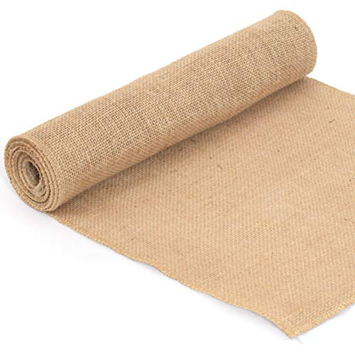 Spoccasio Burlap Table Runner - 12 x 108 inches Long Burlap Runner Made from Natural Brown tan Jute for Rustic Country Wedding Tables Decor | Farmhouse Summer Kitchen Table Decoration -