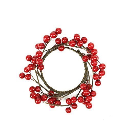 Northlight 7' Decorative Artificial Shiny Red Berries Christmas Candle Holder Ring