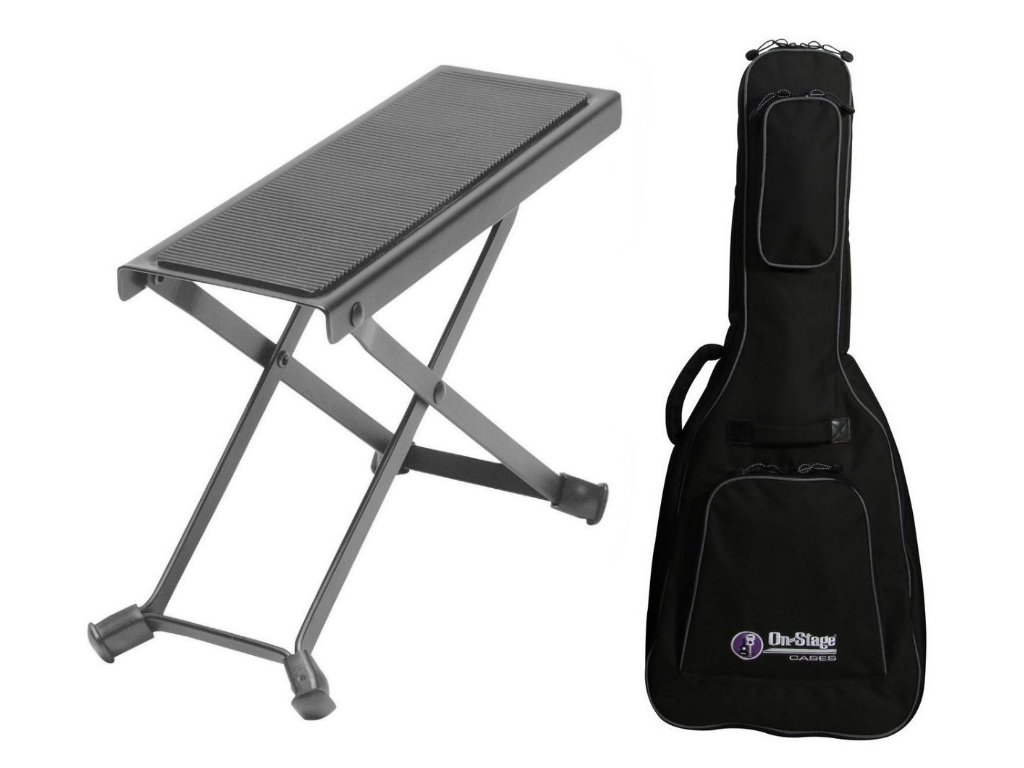 Combo offer On Stage Guitar Foot Rest with Deluxe Acoustic Guitar Gig Bag