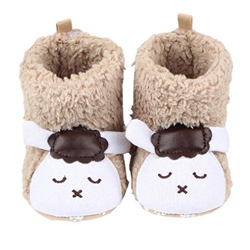 Smile YKK Baby Kind Cartoon Hausschuhe krabbelschuhe Lauflernschuhe(0-12 Monate) 12 Panda Schwarz Schaf Khaki