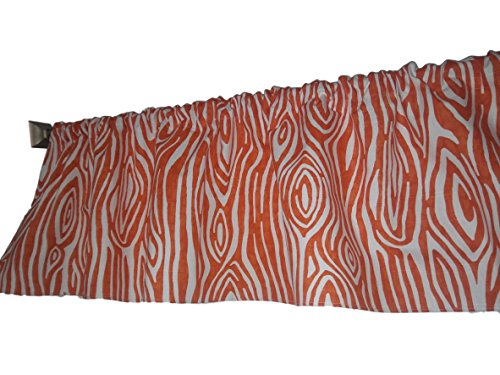 Orange and White Willow wood grain valance curtain, tree rings like, window treatment, 54