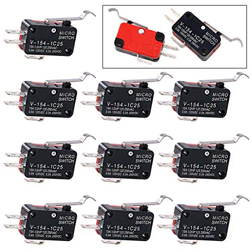Swpeet 10Pcs V-154-1C25 Micro Limit Switch Long Hinge Roller Momentary Cherry Push Button SPDT Snap Action Perfect for Arduino, Appliance and Electronic Equipment ()