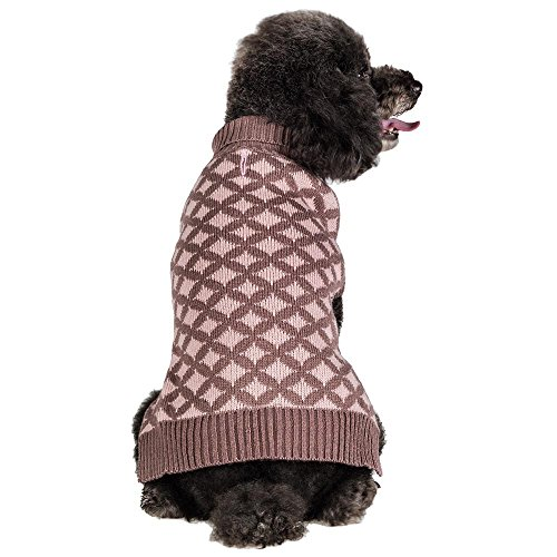 Blueberry Pet 2 Patterns Round Argyle Designer Dog Sweater, Back Length 12
