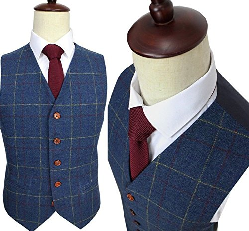 Herringbone Wool Trousers (Mens Premium Wool Blend Tweed Herringbone Check Plaid 5 Buttons Waistcoat Suits Vest,3XL,Blue)