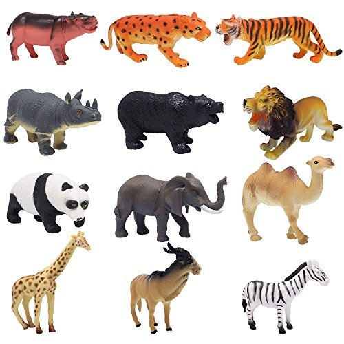 Hard Plastic Figure - Homgaty 12Pcs Wild Jungle Animals Plastic Toy Figures Set, Display Model Collection and Education Toy For Boys Girls Kids Toddlers