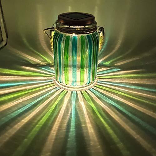 Solar Lantern Jar Lights Outdoor Table Light Mason Jars Green Stripe Hanging Tree Lights Glass Ball Sogrand Bright High 20 Lumens LED Tabletop Lanterns Decorative Lamp for Gift Patio Garden Party (Green Glasses Lantern)