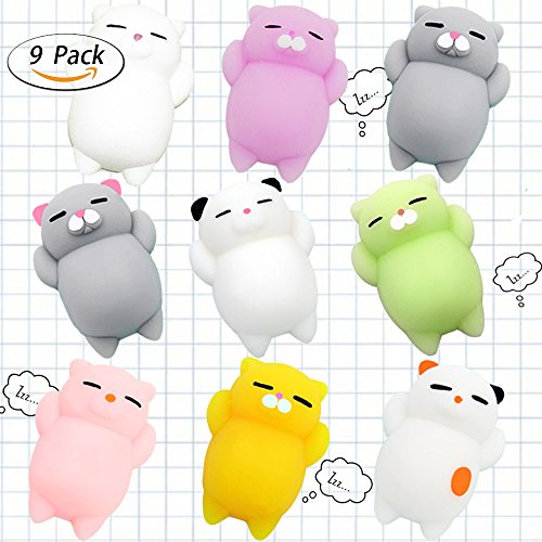 Squishy Cats Toys HAIYOO 9 Pcs Kawaii Soft Cats Squishies Mochi Squishy Squeeze Toys Stress Relief Animal Toys Squishy Cat