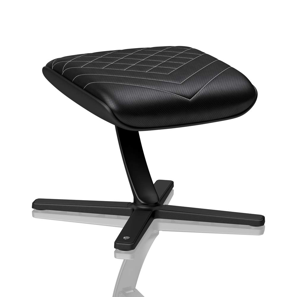 noblechairs Footrest for Gaming Chair - Office Chair - PU Leather - Footrest - Practical Adjustment - 360° Rotatable - 57° Tiltable - Black/Platinum White