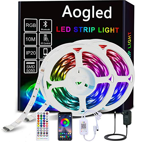 Aogled Tira LED 10M,Bluetooth Tiras LED