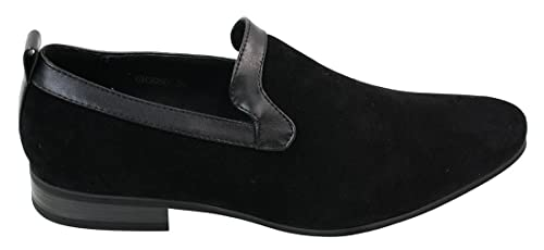 Mens Suede Mocasines Driving Shoes Resbalón Negro Marrón Azul de piel con refuerzo: Amazon.es: Zapatos y complementos
