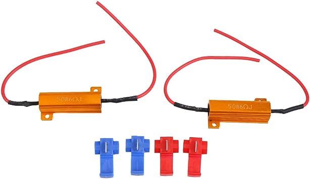 Car LED Decoder Warning Error Canceller Turn Signal Light Lamp Anti Flicker Double Line Oda 2 Pcs LED Load Resistor 7443//T20