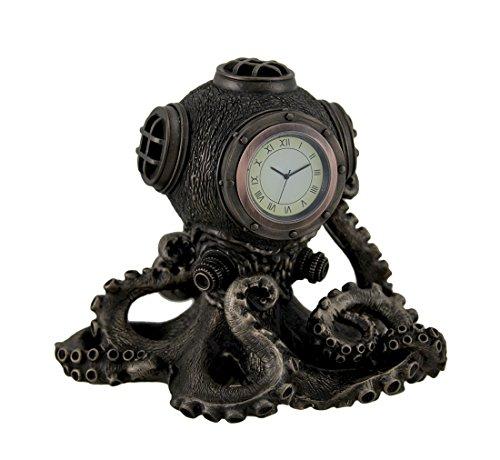 Resin Desk Clocks Bronze Finish Steampunk Octopus Diving Bell Clock Statue 6.25 X 6 X 5 Inches Bronze