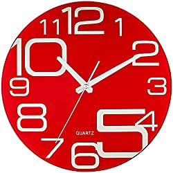 Bernhard Products Decorative Glass Wall Clock Red 12-Inch Silent Non Ticking Quality Quartz Battery Operated Round Unique Modern Design (Red)