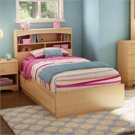 Finish Maple Mates Bed (Twin Size Bed, Metal Drawers Slides, Natural Maple Finish, Made from Laminated Particle Board, Rounded Corners, 3 Practical Drawers, Bundle with Our Expert Guide with Tips for Home Arrangement)